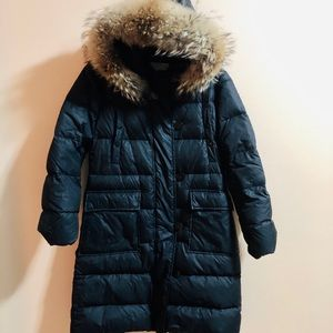 Moncler Quilted Down Coat w removable fox fur hood
